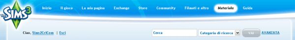 ita menu on the new the sims 3 site