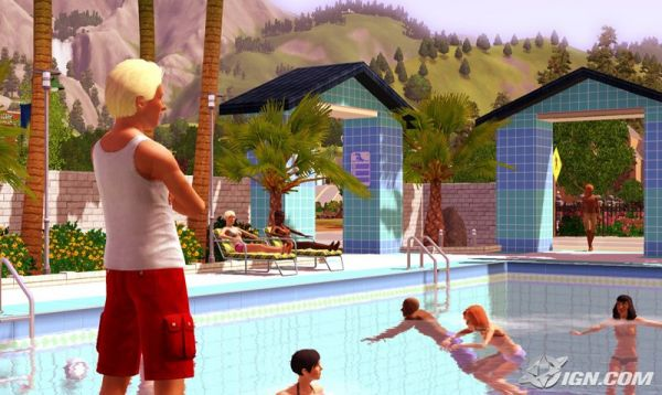 sims in the pool